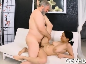 Old dude eats young cum-hole