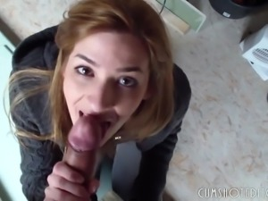 Young German Amateur Quick Blowjob And Facial POV
