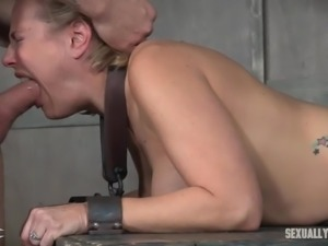 First, this busty blonde babe with big ass will be fucked on this bdsm cage,...