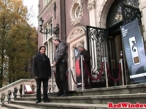 Dutch hooker cumsprayed after pussydrilling