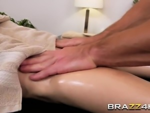 Brunette babe Kimber Woods rides masseur cock