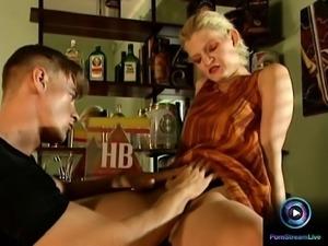Blonde fucking her man's throbbing cock