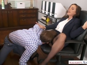 Attractive ladyboss Abigail Mac gets her pussy licked and fucked in the office