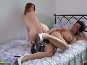 Ardent redhead and torrid brunette are lusty lesbians thirsting for sex