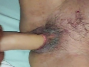 mother family take a big toy in her old pussy