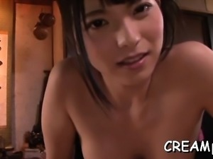Divine japanese gal rides a ramrod until a creampie finish