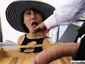 Tiffany Rain sucks cock outdoor