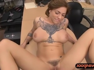 Big boobs woman sucks off and drilled by nasty pawn guy