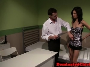 Restrained sub creampied by maledom doctor