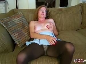 Older mature grandma finger masturbating her extremely hairy pussy