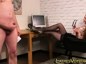 Clothed office mistress