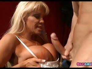 Old Mature Blonde has Huge Rack
