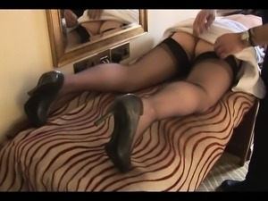 Amateur Mature Masturbation in Black Stockings