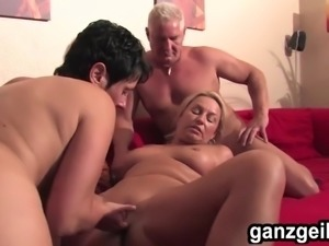 ganzgeil.com ed bisexual German MILF fucking a lucky guy