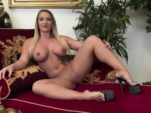 Hot blonde with big tits gets plowed