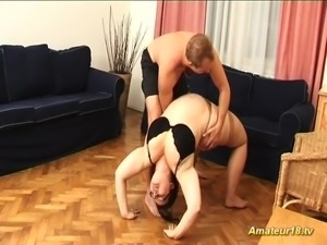 Contortion sex with fat flexible BBW house wife