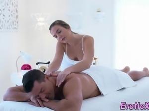 Sexy masseuse sucks pole