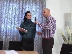 Horny woman gets frisky with a lucky lover's pleasure rod