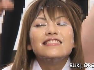 Slender japan female doc astonishing group sex and bukkake