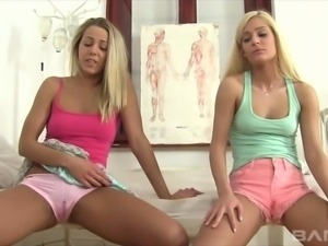 Christen and Candee Licious make each other cum in front of a man