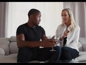 Stunning milf Brandi Love goes to work on her man's massive black penis....