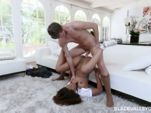 Lusty coed girl in long skirt Zoey Reyes gets brutally pile driven
