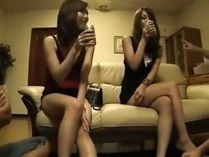 Two busty babes suck two hard cum shooters in group sex
