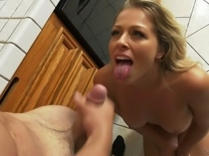 Light haired buxom MILFie housewife Zoey Monroe gives an impressive BJ
