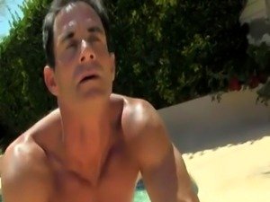 Male teacher has sex with student porn gay Daddy Poolside